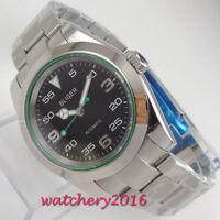 40mm Bliger Black dial Polished Saphirglas Automatic Mechanisch Uhr men's Watch