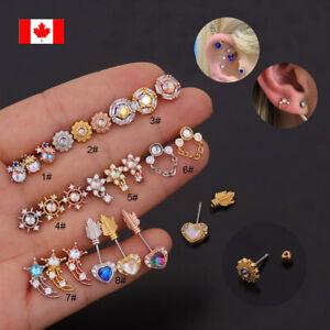 1PC Crystal Cartilage Screw Back Stud Earring Ear Helix Tragus Lobe Piercing 20G