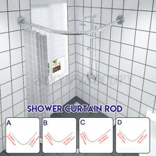 27-65� Curved Silver Stainless Steel Shower Rod, Adjustable for Standard Showers