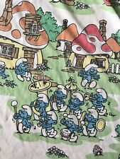 VTG Vintage Smurfs Twin Bed Flat Sheet Lawtex U.S.A.