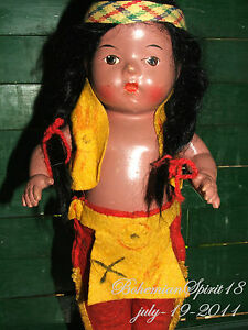 Antique Composition Native American RELIABLE Doll