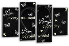 LOVE QUOTE ART Picture Black White Live Laugh Heart Home Print Split Panel