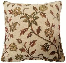 """CREAM BROWN BEIGE GREEN TAPESTRY CHENILLE FLORAL LEAF CUSHION COVER 18""""- 45CM"""