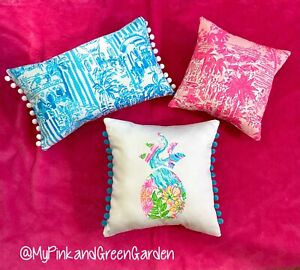 New Set Of 3 throw pillows made with LILLY PULITZER  fabrics