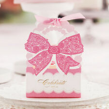 100pcs Chocolate Box Cut Wedding Favor Box Wedding Candy Box Flower with Rose CA