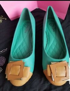 Woman Green Beige Design Flat Shoes Size 8