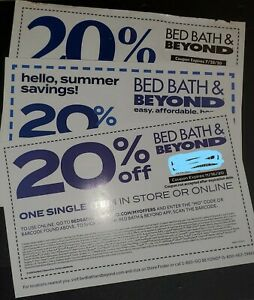 EMAILED! BED BATH & BEYOND 20% OFF THREE SINGLE ITEM COUPON (expired)