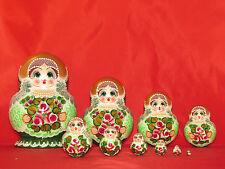 Poupées russes 10 p. H 17 cm  Matriochka Gigognes Doll peint main signé Russie