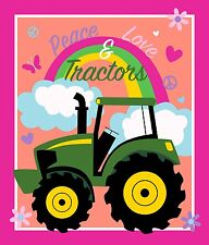 "John Deere Tractor Pink Peace Love & Tractors 100% Cotton Fabric 36"" Quilt Panel"