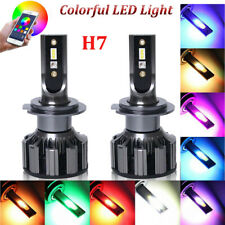2x H7 Colorful RGB 120W 20000LM Fog Light LED Headlight Kit Bulbs Phone Control