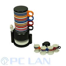 Black Rainbow Stripes Coffee Tea Plastic 4 Cups Set +4 tea Spoons +4 Cup Plates