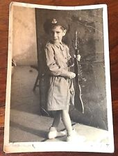 REAL PHOTO 1950s ISRAEL BOY IDF ARMY UNIFORM ZAHAL RIFLE HAIFA JUDAISM JEWS