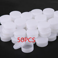 50 PCS Lot White Plastic Cosmetic Sample Container 10 Grams Jars Pot Small Empty