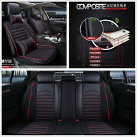 Deluxe Edition Car Front + Rear 5-Seats Cover Set Durable PU Leather w/Pillows