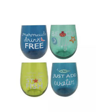 Celebrate Summer Together Coastal 4 Pc Stemless Wine Glass Cups Drinkware Set