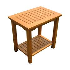 Eukalyptus Beistelltisch geölt - 50x35 cm / 2 Ablagen - Holz Garten Tisch klein