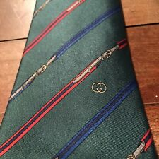 Vintage Gucci Mens Tie Itsly Green Diagonal Stripes Buckle Silk Red Gray Blue
