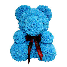 Blue Rose Bear for Birthday, Graduation, Wedding, Flower, Bear Gift