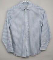 CHARLES TYRWHITT Mens 16/34 Slim Fit Non-Iron Blue/Green Stripe Dress Shirt_S580