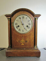 Tall Wooden Mantel clock by HAC ( cross arrows )