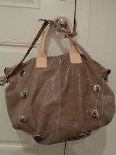 PULICATI Italian Leather metallic tan Brown studded crossbody Tote Shoulder Bag