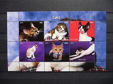 Katzen 17 cats Chats Tiere animals pets Fauna Block KB sheets postfrisch ** MNH