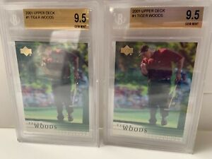 TWO 2001 UPPER DECK # 1 CARD TIGER WOODS ROOKIE BECKET 9.5