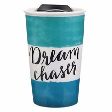New DREAM CHASER by Clay Art 9 oz  Coffee Tea Cocoa Travel Mug Cup With Lid