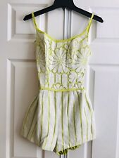 Bathing Suit Romper Vtg 1960s Ivory With Green Undergarment