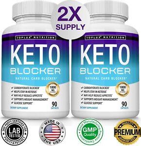 Keto Diet Blocker Pills 1800 MG (2 PACK) Fat Burner Carb Blocker & Weight Loss