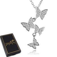 Schmetterling Halskette 925 Sterling Silber Damen ❤ Swarovski® Kristalle ❤ ETUI
