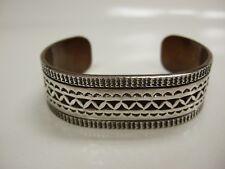 Signed Vintage Navajo Hand-Stamped Sterling Silver/Copper Cuff Bracelet - Signed