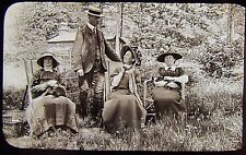 Glass Magic Lantern Slide EDWARDIAN FAMILY UNDER TREES DATED 1911 PHOTO