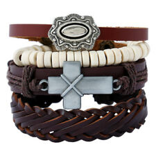 Men Women Cross Fashion Leather Bangle Beaded Cuff Wristband Bracelet 4pc Set