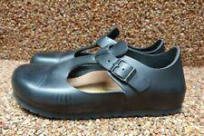 Birkenstock Paris Black Leather T-Strap Buckle Clogs Shoes 38 US 7