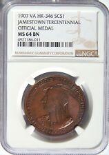 1907 Jamestown So Called Dollar HK-346 NGC MS-64 BN