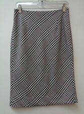 White House Black Market 4 Womens Pencil Skirt Stretch Lined Houndstooth Small