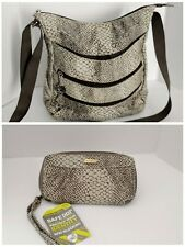 Travelon snake print bag crossbody purse with matching wallet gray/cream color