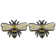 2pc Iron on Sewing Patch Embroidered Emblem Cloth Applique Flying Bee Badge DIY