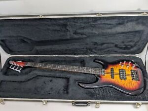 Carvin LB70 Classic Sunburst on Quilted Maple 4 String Fretless Bass Guitar USA
