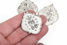 4 Silver Relic Charm Pendants, religious medal charms, 2-sided, 40x34mm, chs2833