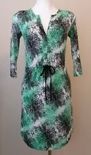 Kenar Black and Green Patterned Knit Dress Size XS