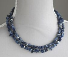 "BLUE & WHITE SODALITE LONG LINE NECKLACE 36"" LENGTH"