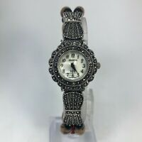 Geneva Elite Womens Brown Beaded Band Stainless Steel Case Analog Bracelet Watch