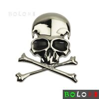 3D Metal Skull & Cross Bones Logo Emblem Sticker Decal For Motorcycle Car Silver