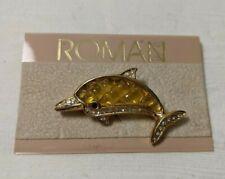 Roman Gold Toned Rhinestone Enamel Dolphin/Porpoise Pin New