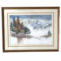 Martinez Signed Watercolor Painting Glass Framed Art 20 x 26 Colorado Mountains