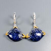 Lapis Lazuli Earrings Silver 925 Sterling Vintage  /E38275