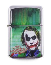 Lighter Joker v2 Batman Design Silver Refilable Windproof Petrol Smoking FlipTop