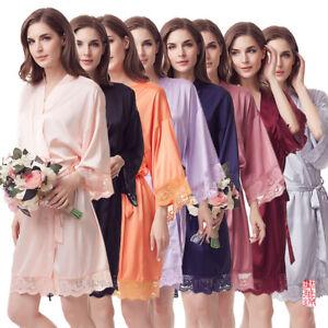 Women's Bathrobes Short Satin Kimono Robes Bridesmaids Sleepwear with Oblique